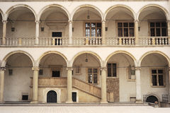 Wawel Castle wall. Arcades in yard of Wawel Castle in Krakow. Poland Stock Photos