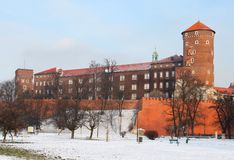 Wawel castle in the winter royalty free stock photography