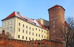 Wawel castle in the winter stock photo
