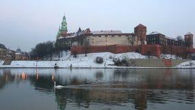 Wawel castle in winter twilight stock footage