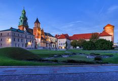 Wawel Cathedral And Castle At Dusk stock images