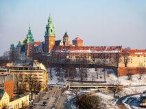 Wawel Cathedral and castle in winter. Krakow, Poland Royalty Free Stock Image