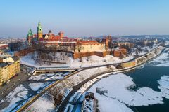 Wawel Cathedral and castle in winter. Krakow, Poland Stock Photo