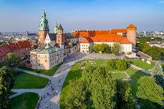 Wawel Cathedral in Krakow, Poland. Aerial view in sunset light. Royal Wawel Gothic Cathedral in Cracow, Poland, with Renaissance Sigmund Chapel with golden dome royalty free stock photography