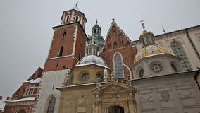 Wawel Cathedral. KRAKOW, POLAND - DECEMBER 2017; Bottom view of the Wawel Cathedral stock footage
