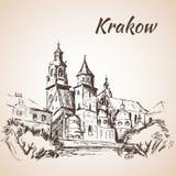 Wawel Cathedral - Krakow, Poland. Sketch. On white background stock illustration