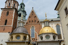 Wawel cathedral in Krakow. Tower and domes of the Wawel cathedral at the Wawel complex in Krakow stock photo