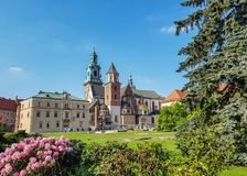 Wawel Cathedral: mixture of architecture styles in one church with pink flowers in a frontline and blue sunny sky in background royalty free stock image