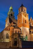Wawel Cathedral at Night in Krakow stock photo