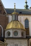 Wawel gold Chapel. Wawel Cathedral on Wawel Hill with Sigismund`s Chapel with a gold dome in old town Krakow in Poland stock image