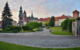 Wawel Hill Cathedral and Garden. The cathedral and gardens sitting at the top of Wawel Hill in Krakow, Poland Royalty Free Stock Photo