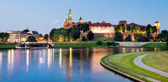 Wawel hill at night Stock Image