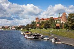 Wawel kasztel W Krakow przy Vistula rzeką obraz royalty free