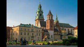 Wawel kasztel W letnim dniu, Krakow, Polska Timelapse zbiory