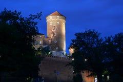 Wawel kasztelu wierza przy nocą krakow Polska Zdjęcie Royalty Free
