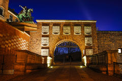 Wawel Koninklijk Kasteel: hoofdingang aan het kasteel, Krakau, Po Stock Afbeelding