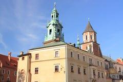 Wawel in Krakau, Koninklijke Kasteel en kathedraal, Polen Stock Foto's