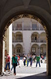 Wawel. Krakow, Poland, July 28, 2015. Wawel Royal Castle, seat of Polish kings from the 12th to 17th century. Courtyard with arcades Royalty Free Stock Images