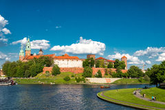 Wawel in Krakow. At the river Wisla, Poland royalty free stock photography