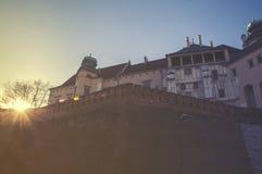 Wawel kulle med domkyrkan och slott i Krakow Royaltyfri Fotografi