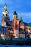 Wawel kunglig domkyrka vid natt i Krakow Royaltyfri Fotografi