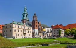 Wawel kunglig slott, domkyrka Krakow (Cracow) - Polen Arkivfoto