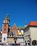 Wawel kungligt slott i Krakow, Polen Arkivfoto