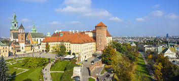 Wawel Royal Castle in Cracow. Royal Castle Wawel in Cracow, Poland. Panorama of the inner courtyard and part of the city in the distance Stock Photos