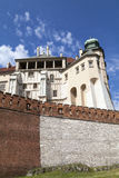 Wawel Royal Castle with defensive wall, Krakow, Poland. Stock Image