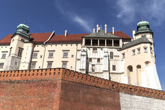 Wawel Royal Castle with defensive wall, Krakow, Poland. Stock Photography