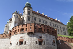 Wawel Royal Castle with defensive wall, Krakow, Poland Royalty Free Stock Photo