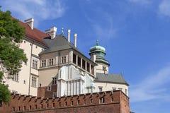 Wawel Royal Castle with defensive wall, Krakow, Poland. Stock Photos