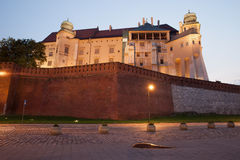 Wawel Royal Castle in Krakow at Dusk Stock Photography
