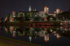 Wawel Royal Castle in Krakow by night, Poland Royalty Free Stock Photography