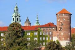 Wawel Royal Castle, Sandomierska Tower in sunny day, Krakow, Poland royalty free stock photo