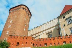 Wawel Royal Castle, view of Senator Tower and defensive fortification stock photos
