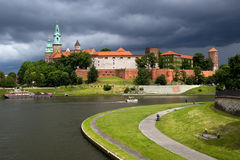 The Wawel Royal Castle and Vistula River Stock Photos