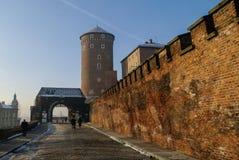 Wawel royal castle in winter morning. Main gate,Sandomierska Tow Royalty Free Stock Image