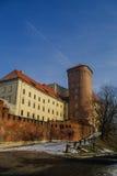 Wawel royal castle in winter morning. Senatorska Tower, Krakow, Royalty Free Stock Photography