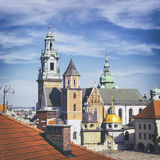 Wawel Royal Cathedral. (Katedra Wawelska). View from the castle tower, Wawel Hill, Krakow Royalty Free Stock Photos