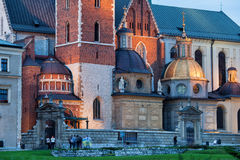 Wawel Royal Cathedral by Night in Cracow Stock Photos