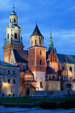 Wawel Royal Cathedral by Night in Krakow Royalty Free Stock Photography