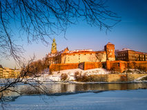 Wawel-Schloss in der Winterzeit stockbilder