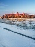 Wawel-Schloss in der Winterzeit lizenzfreie stockfotografie