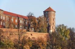 Wawel slott i höst, Krakow, Polen arkivbild