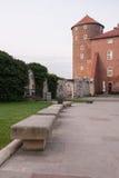 Wawel slottgård, Krakow, Polen arkivfoton