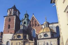 Wawelheuvel met kathedraal en kasteel in Krakau Stock Afbeeldingen