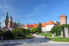 Wawelkathedraal en Koninklijk Kasteel in Krakau, Polen Stock Foto