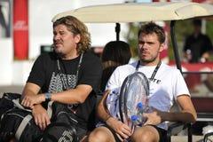 Wawrinka Stanislas & coach Lundgren Stock Image