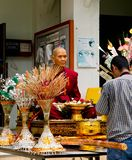Wax Buddhist monks. Men respect wax buddhist monks ,Beliefs and faith Royalty Free Stock Photos